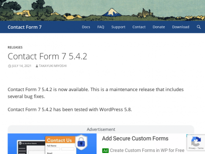 Contact Form 7 | Just another contact form plugin for WordPress. Simple but flexible.