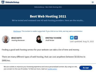 The best web hosting service of 2021   websitesetup.org