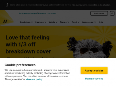 AA SALE | 1/3 off Breakdown Cover | Insurance, Route Planner
