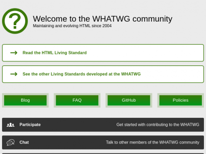 Web Hypertext Application Technology Working Group (WHATWG)