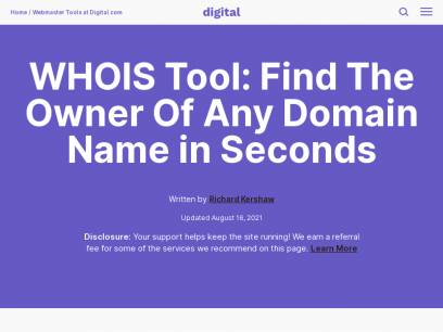 WHOIS Tool: Find The Owner Of Any Domain Name in Seconds - Digital.com