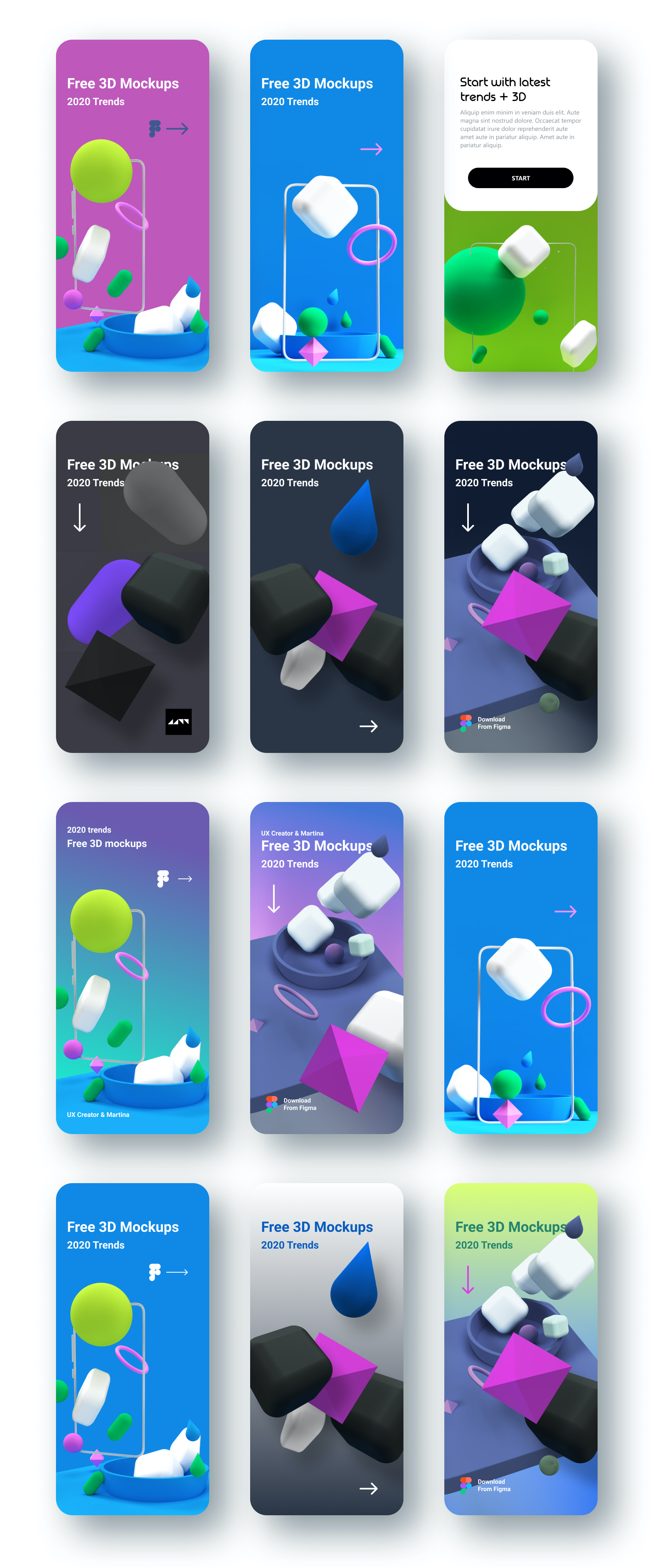 3D Models App Mockups - 3D models are currently a popular trend in web design. 3D illustrations are very often used in the design of landing pages for apps or websites. Consists of 26 shapes, 22 compositions, and 12 mockups for demonstration purposes.