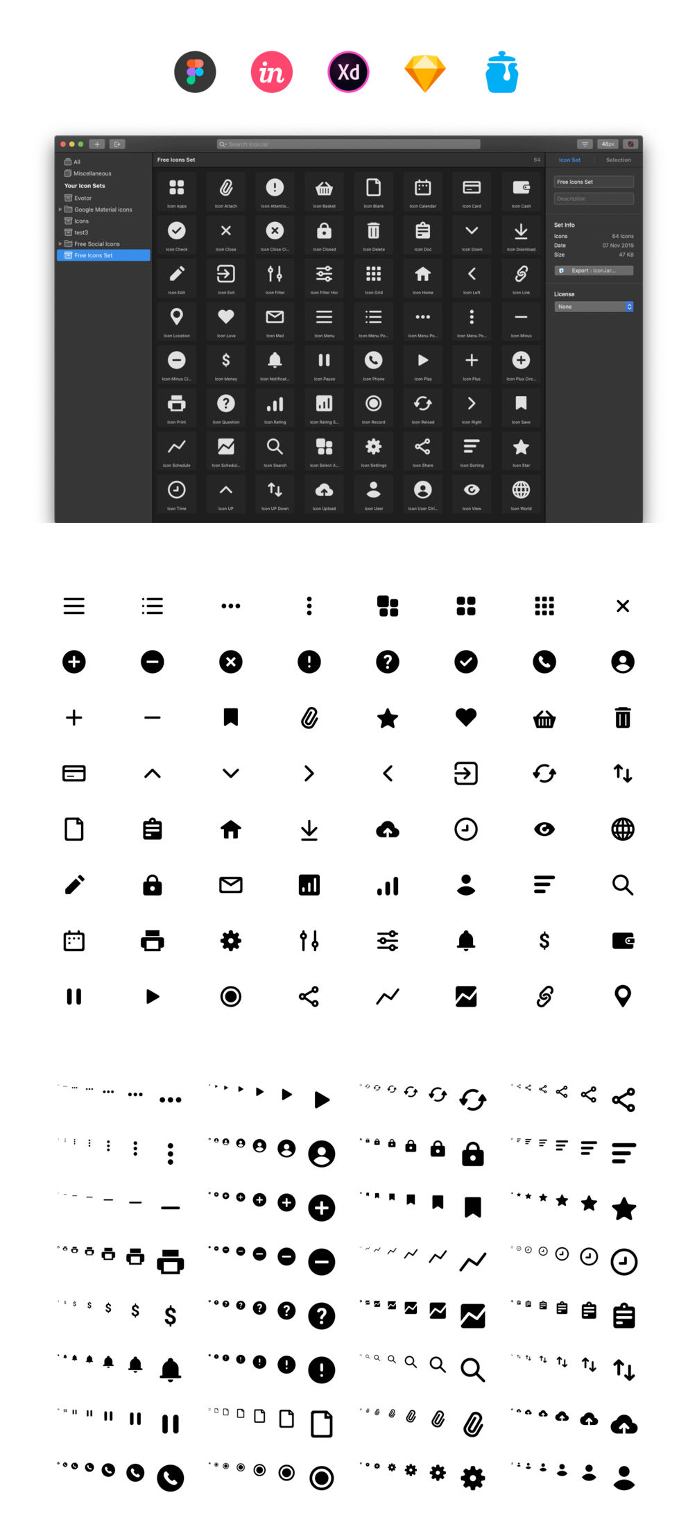 64 Free Essential Icons - A set of 64 most popular pictograms for a designer.