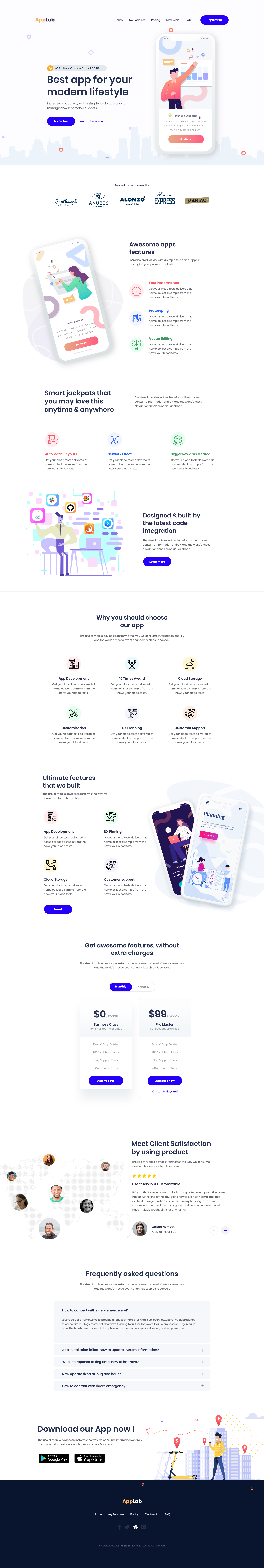 AppLab - App Landing Page for Photoshop - Elegant and clean landing page for any kind of app.