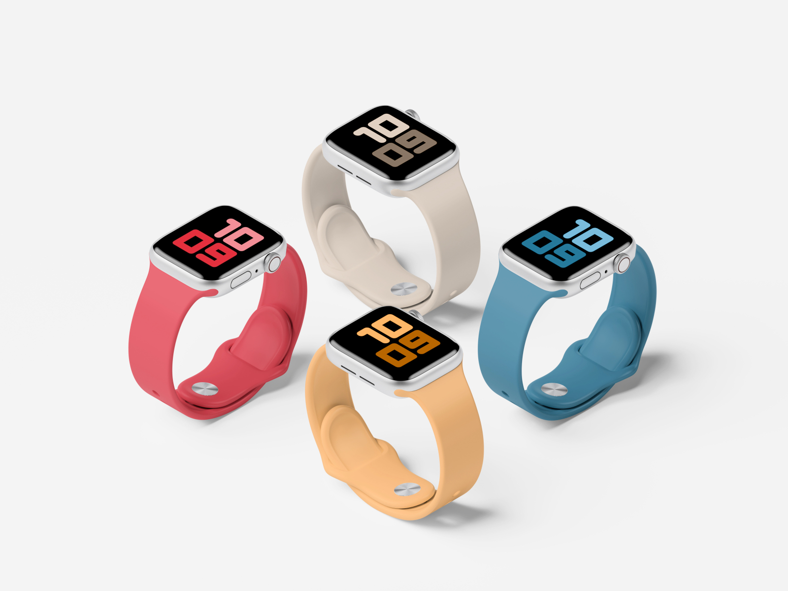 Apple Watch Series 5 Set Mockup - Use this Apple Watch Series 5 to showcase your app designs.
