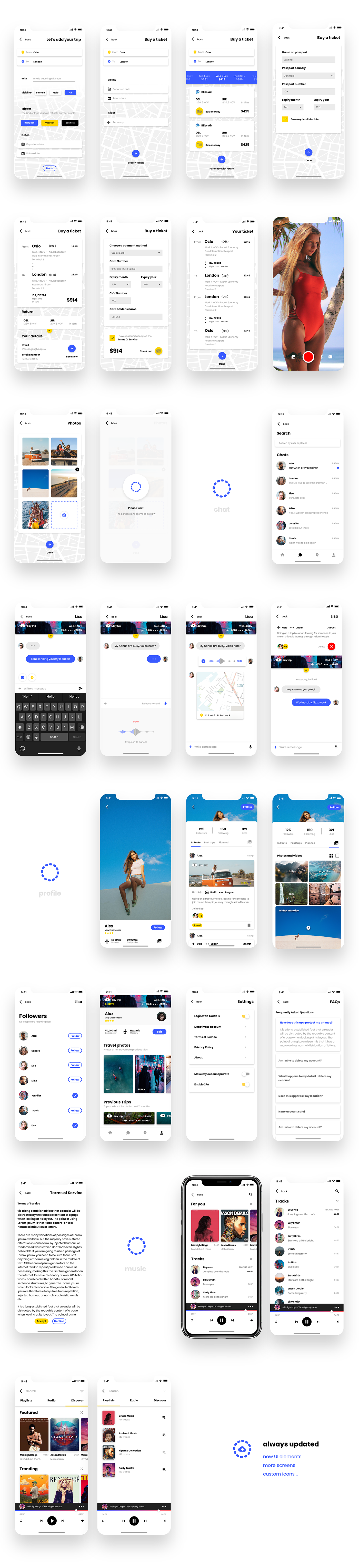 Backpack - UI Kit Free for Adobe XD - Includes 50+ customizable screens across seven categories