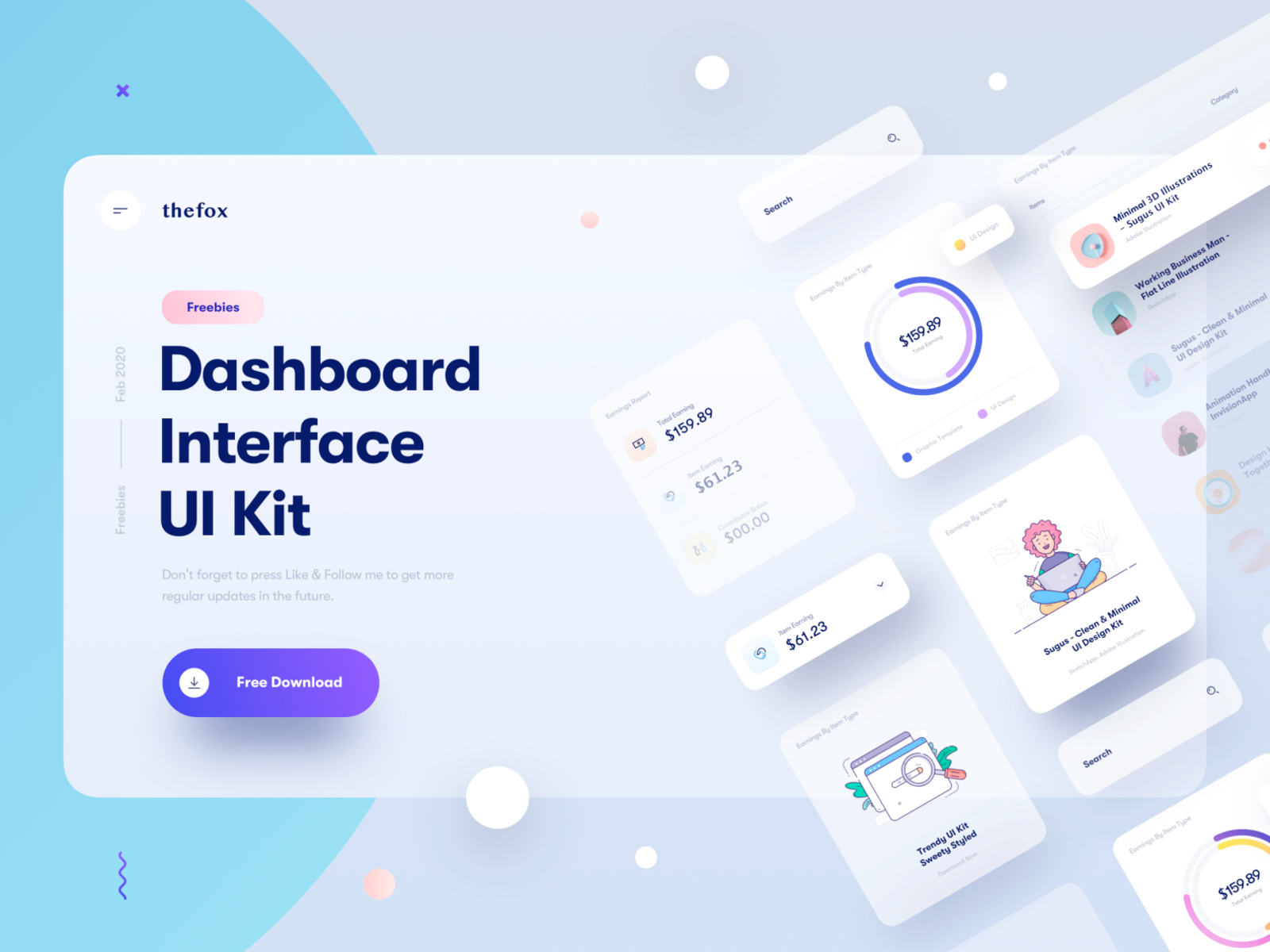 Dashboard Interface UI Kit for Sketch - Minimal and clean dashboard interface