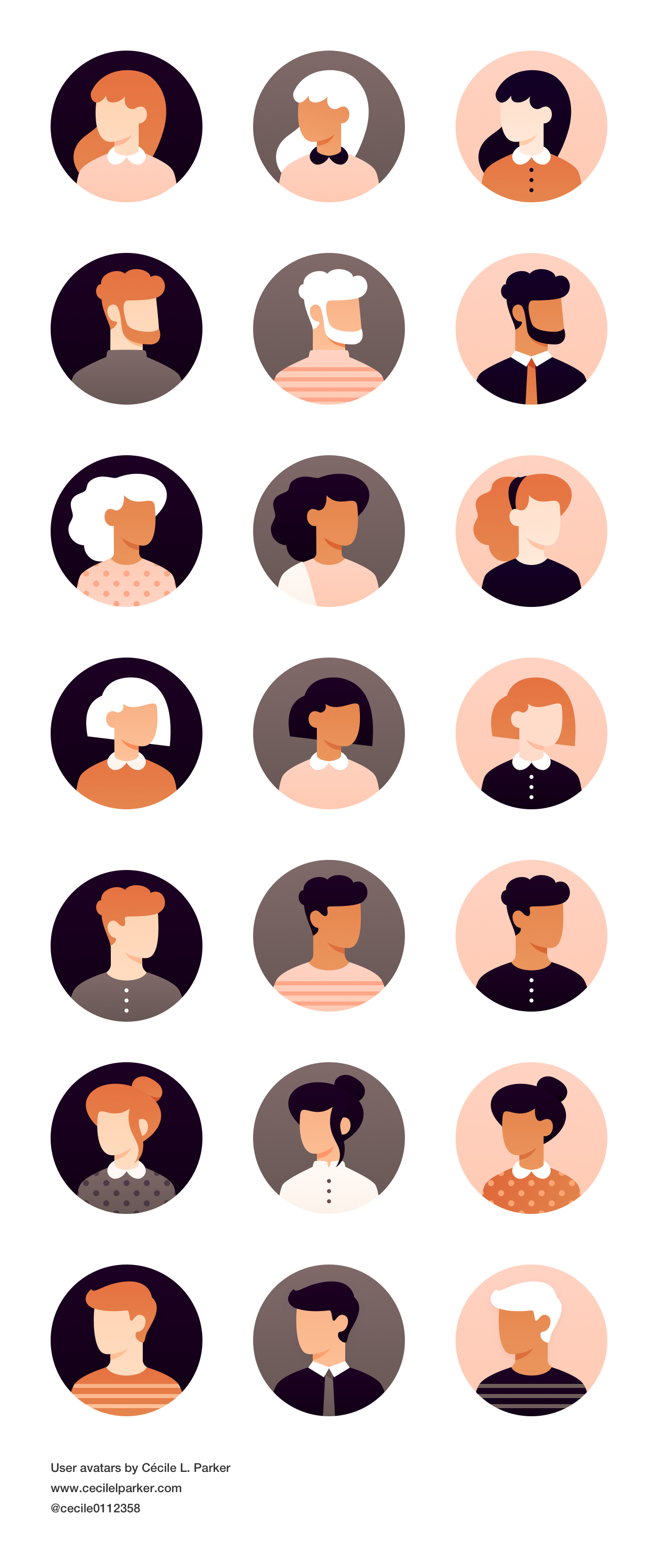User Avatars for Sketch - Here's a set of 21 user avatars. Elegant and clean avatar for any kind of project.