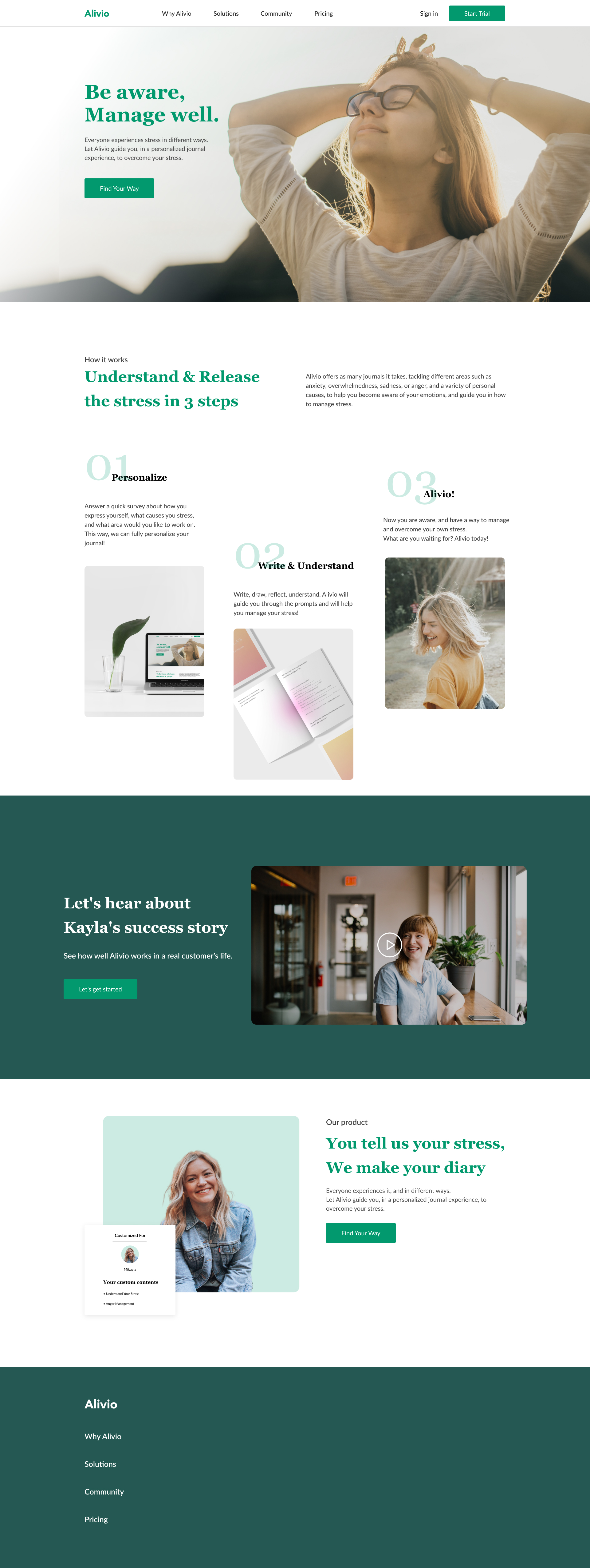 Alivio Landing Page for Figma - Minimal and clean landing page design, great for you to get started a new project.