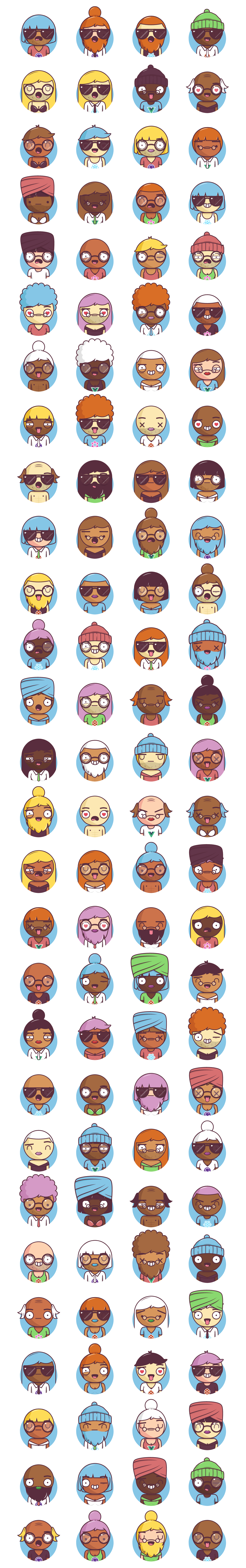 Big Heads Characters Free Illustrations - Easily generate characters for your projects. Combine expressions, clothing, hair styles and colors into billions of different unique characters. Embed them on your website, use them in your favourite design software, or import them from the React library!