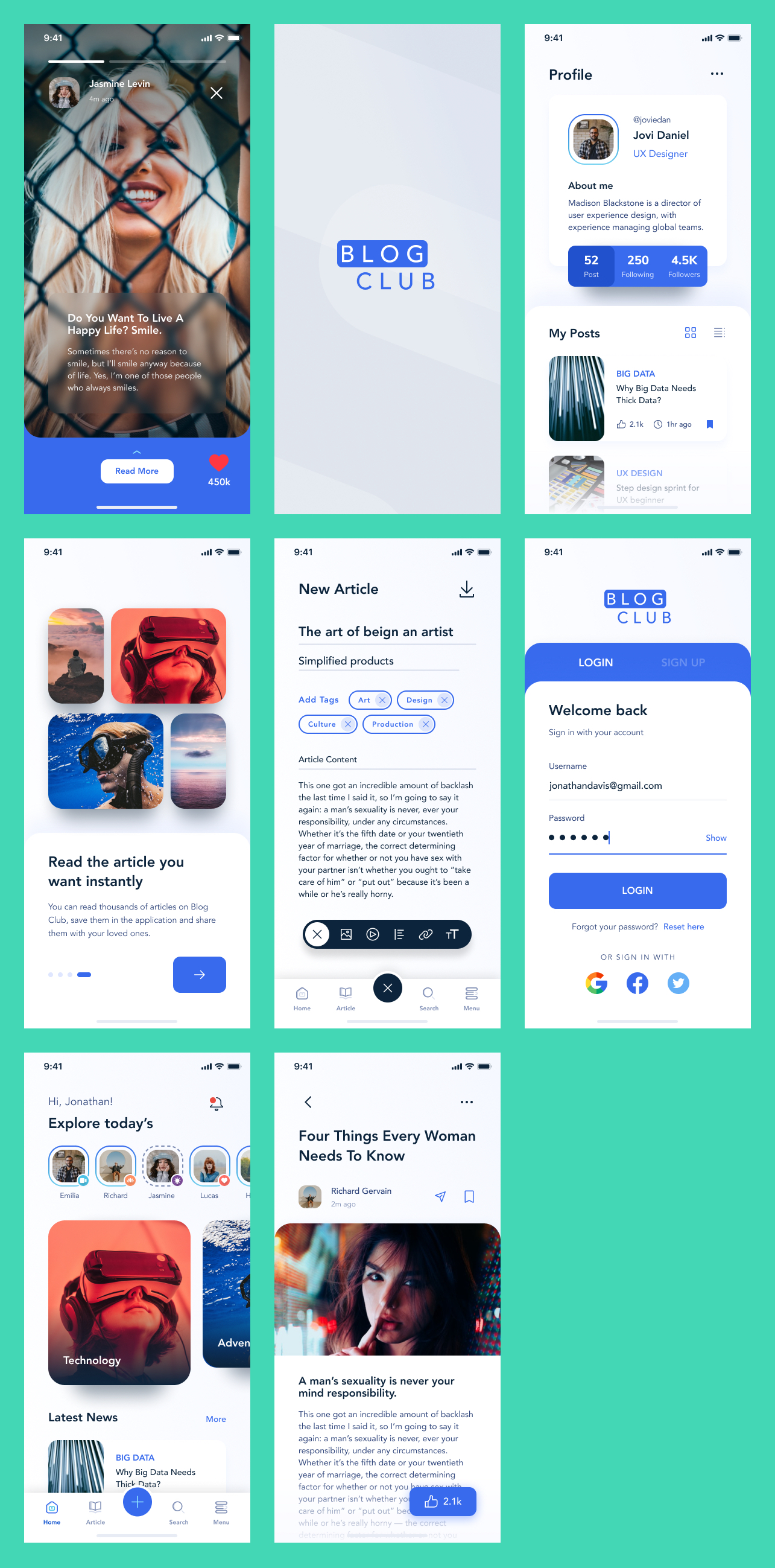 Blog Club Free UI Kit - Clean and clear UI Kit with necessary stuff to create a new blog.