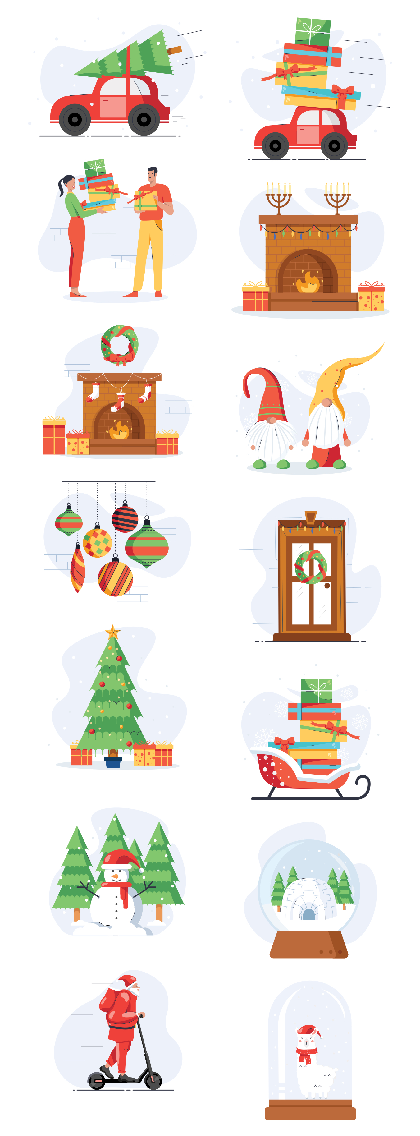 Christmas Free Illustration Pack - High-quality Free Christmas royalty-free Illustration pack that can be used in all designing software like Photoshop, Illustrator, Adobe XD and Sketch for Festival & Days related content in all formats.