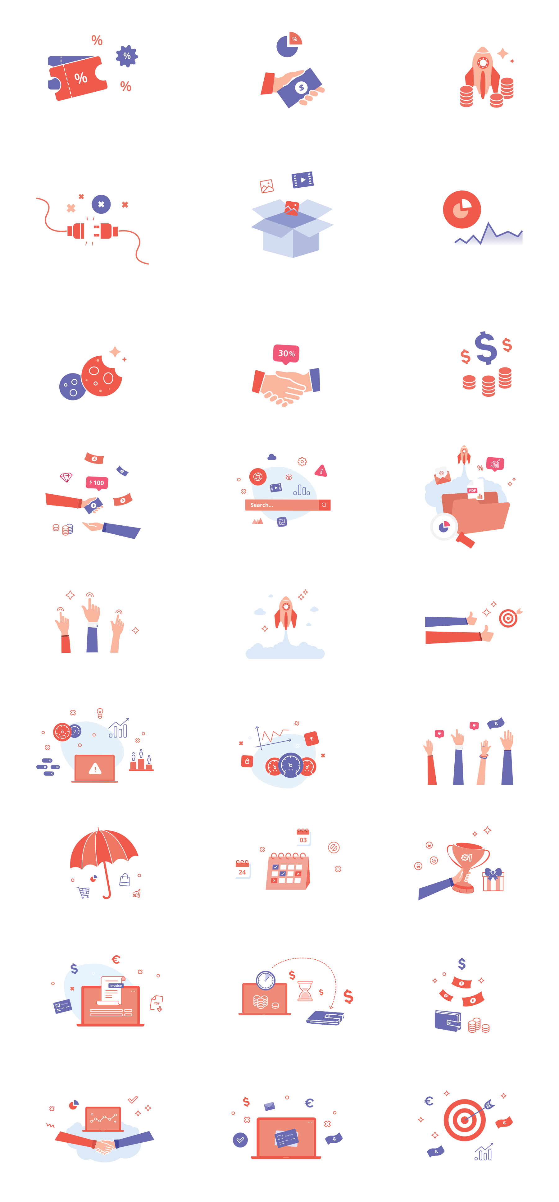 Colorful Free Icons - Icons are ready to use in your project right away. We designed them in Adobe Illustrator. They are 100% vector, with preserved layers, you will be able to edit them easily. The file contains icons in two styles: 27 full-color icons and 27 slim icons.