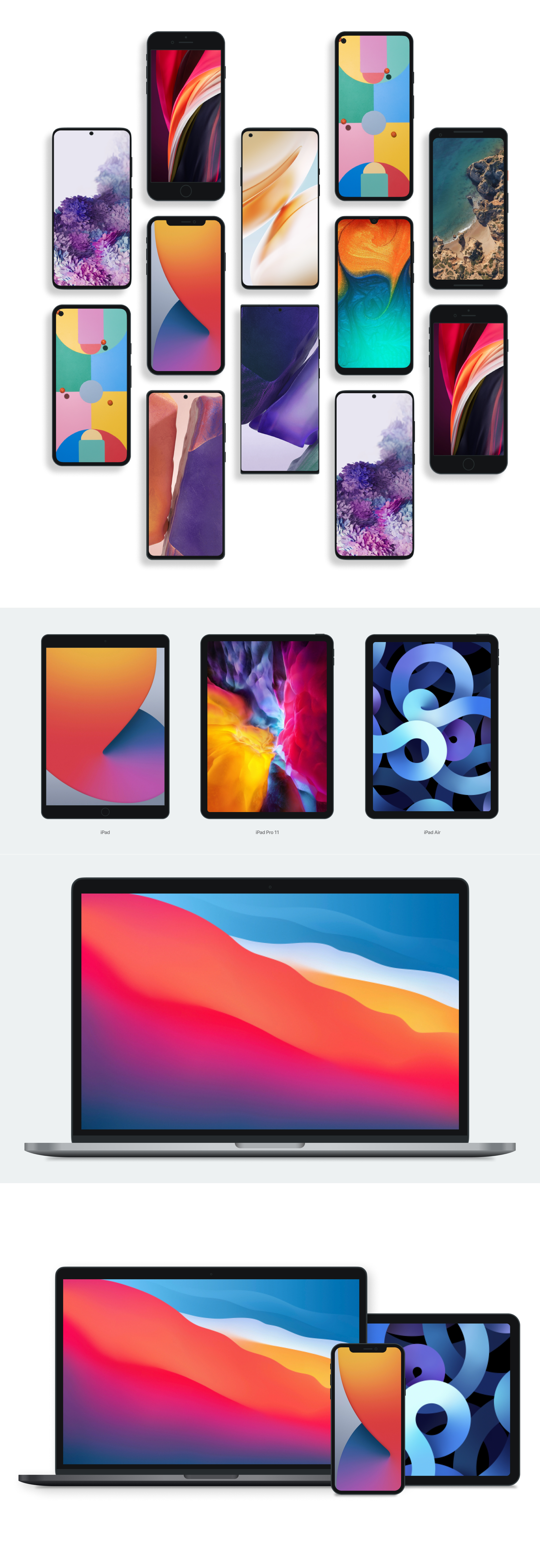 Free Device Mockups for Figma - Free vector mockups for various mobile devices including: