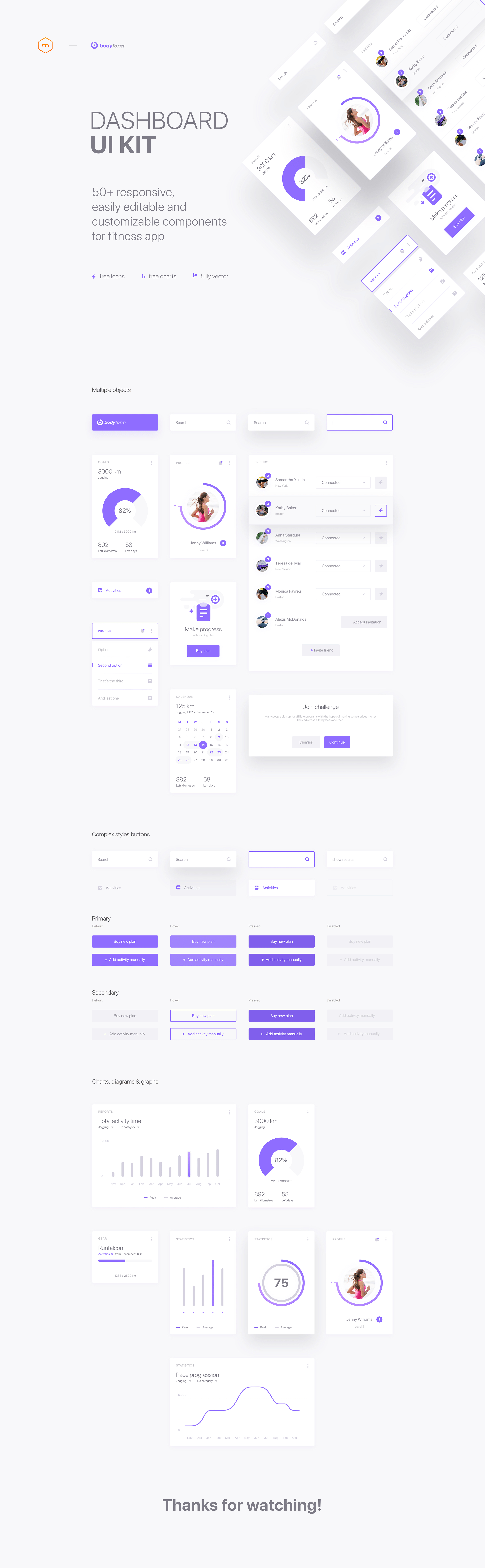 Bodyform - Fitness App UI Kit for Sketch - Fitness apps are the key helpers for people who strive to get fit. Their functionality gives a lot of opportunities and makes keeping fit easier. Understanding the significant impact of these applications on users' everyday life, we made our best to activate the problem-solving potential of fitness apps and prepared a free set of essential UI elements to be used in these apps. Download free sketch file and design a user-friendly fitness app experience.