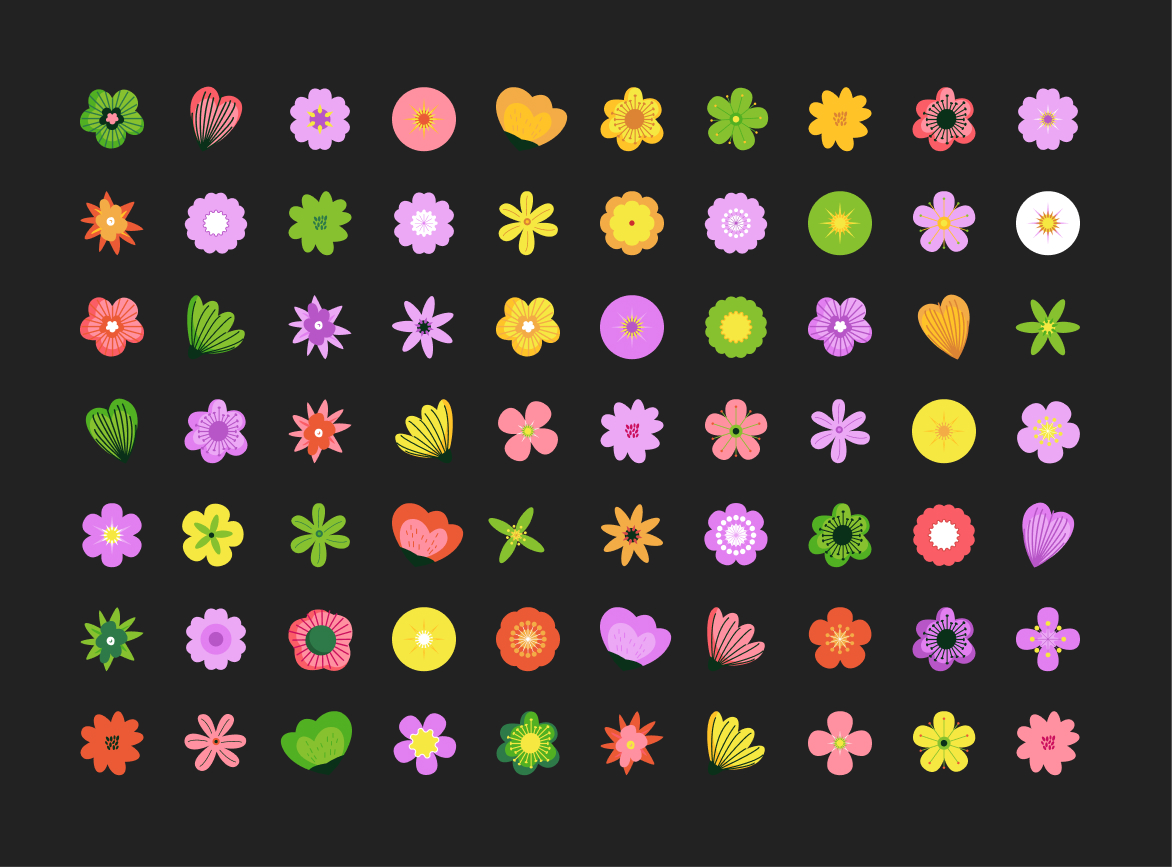 Flower Patterns Free Illustration for Figma - Flower patterns with variant allow you to use them anywhere. Vector file, you can edit shape, color and size.