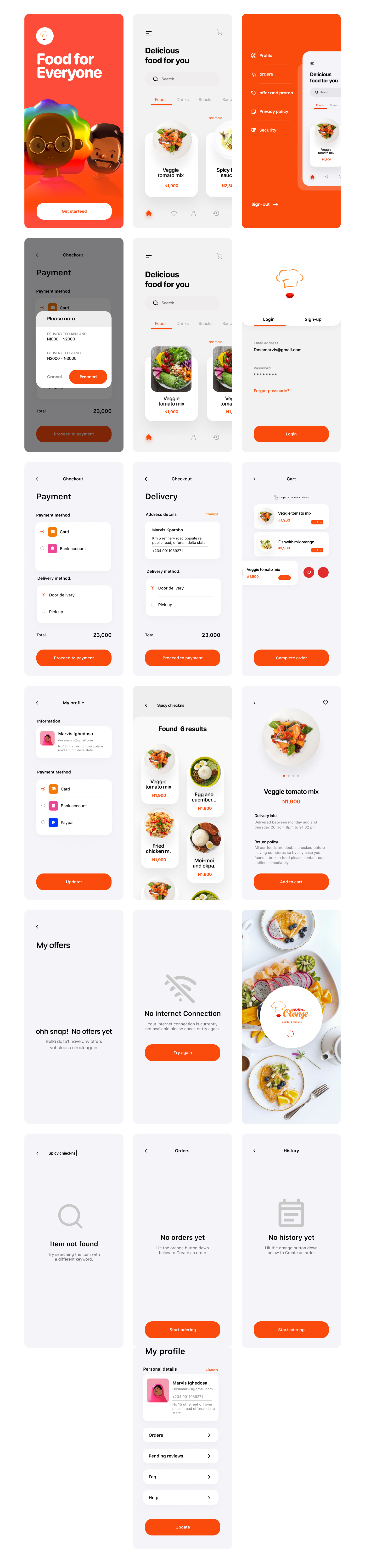 Food App Free UI Kit for Figma - Minimal and clean app design, 20+ screens for you to get started.