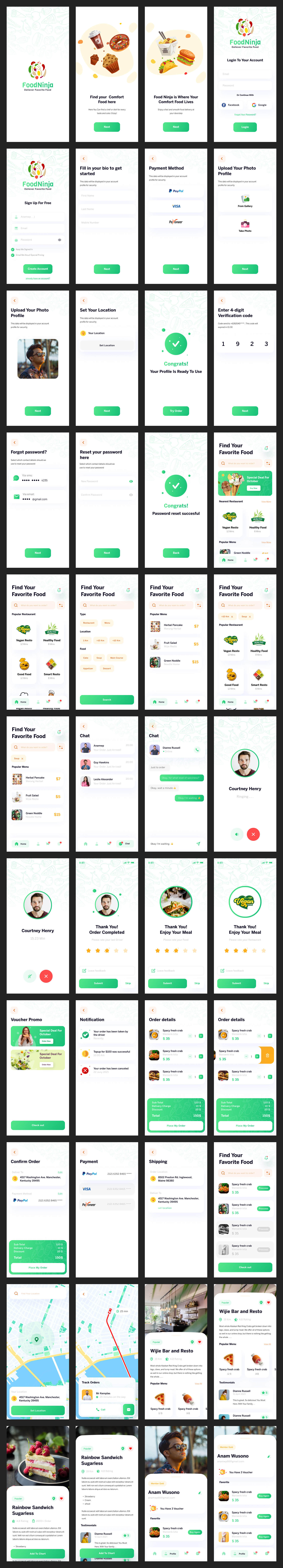 Food Delivery Free UI Kit - 80+ super clean and green awesome screens perfect for healthy addicts, free to download for commercial and personal purposes.