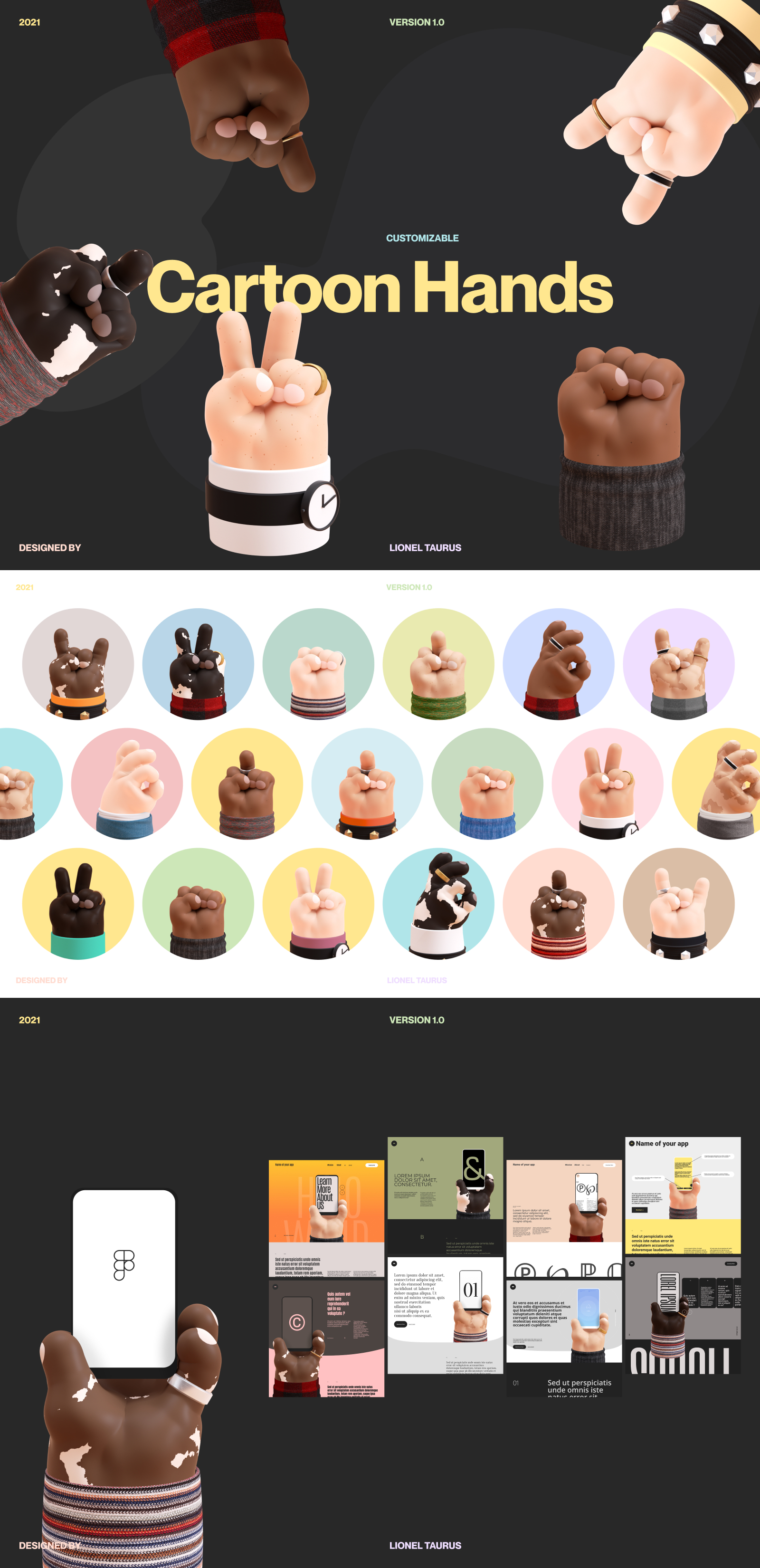 Free 3D Cartoon Hands Mockup for Figma - A collection of 3D cartoon hands, hand-crafted to use for your design and illustrations! The hands are made out of components so you can make your own and create variants.