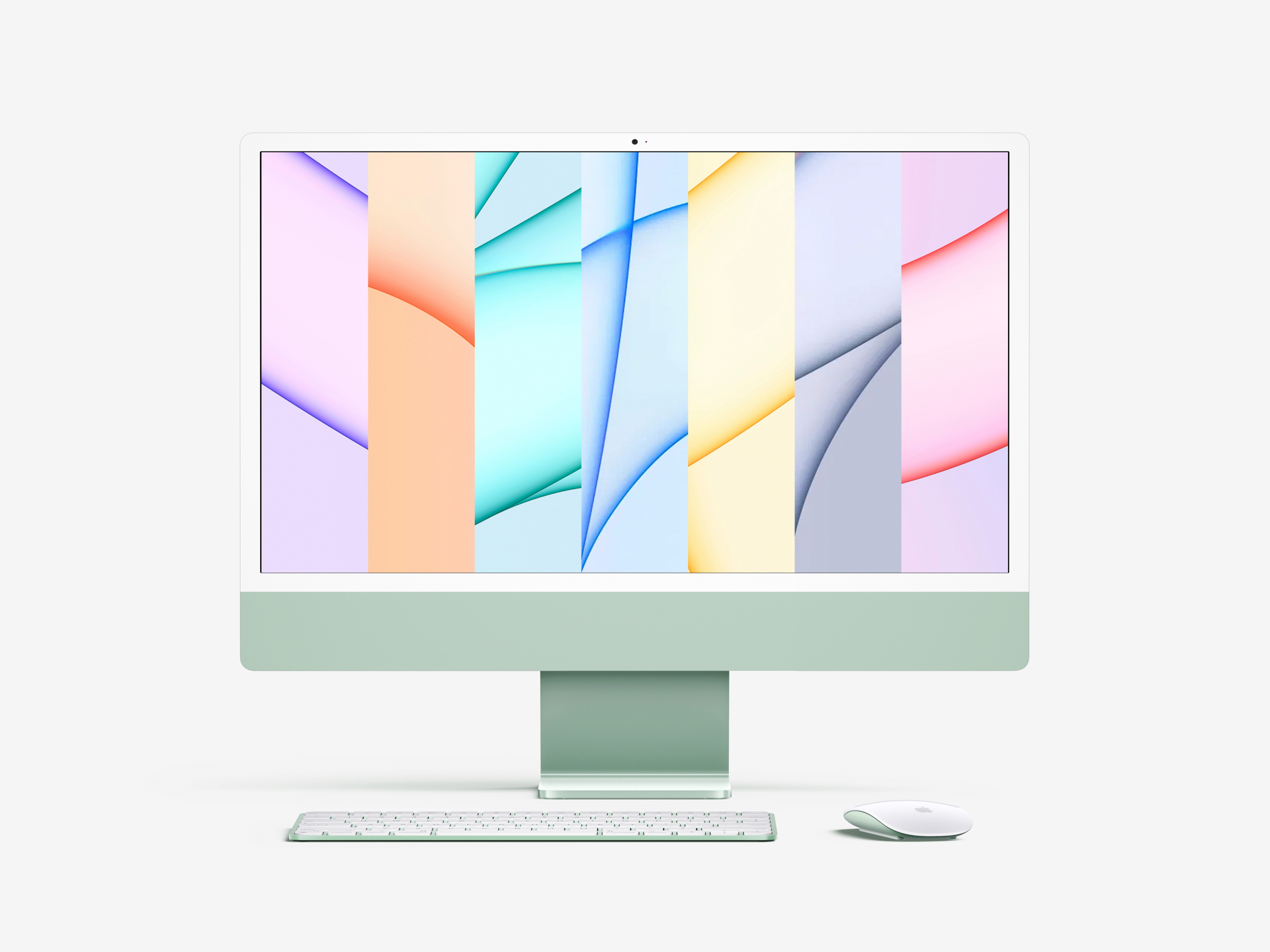 Free iMac 24-inch Mockup (2021) - Meet the new iMac mockup in a premium quality and 7 color styles. You can easily customize this photorealistic mockup, thanks to smart layers function.