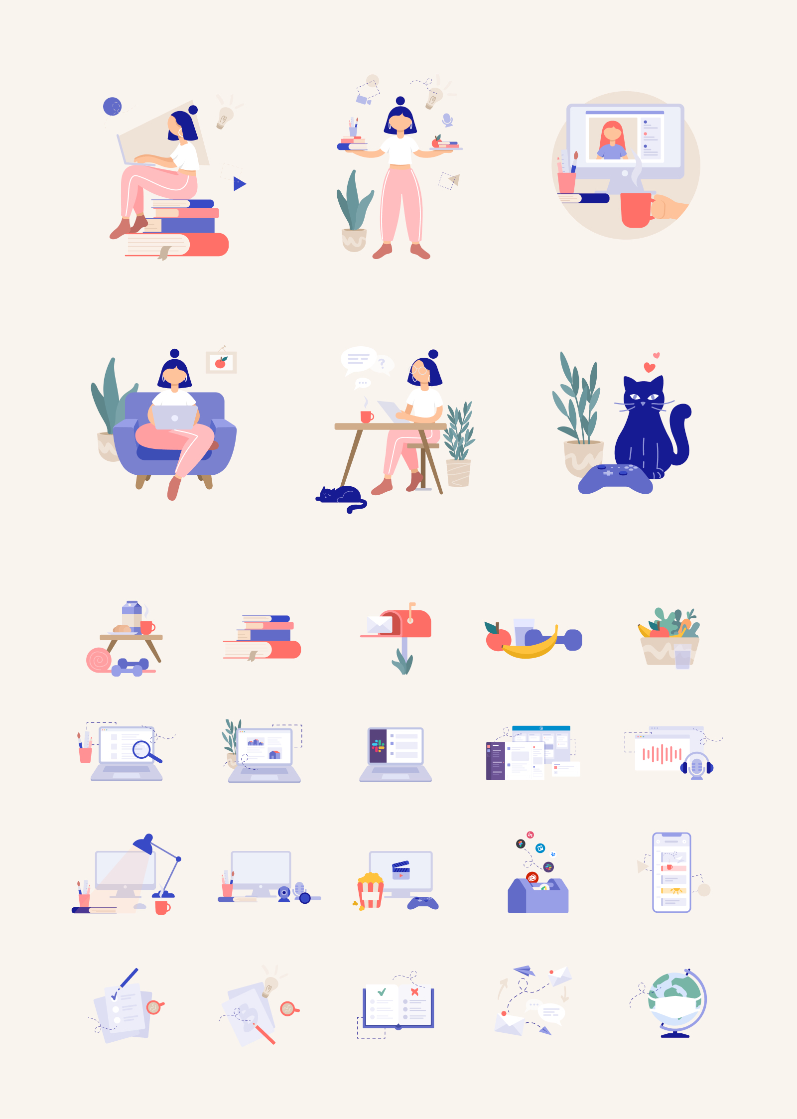 25+ Free Remote Work Illustrations - More than 25 vector illustrations in SVG, PNG, Figma and AI formats.