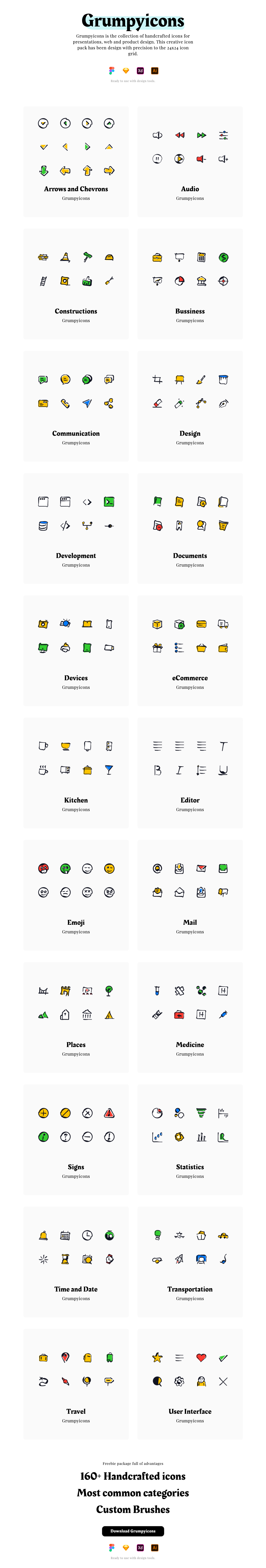 Grumpyicons Free Icons Pack - Grumpyicons is the collection of handcrafted icons for presentations, web and product design. This creative icon pack has been design with precision to the 24x24 icon grid.