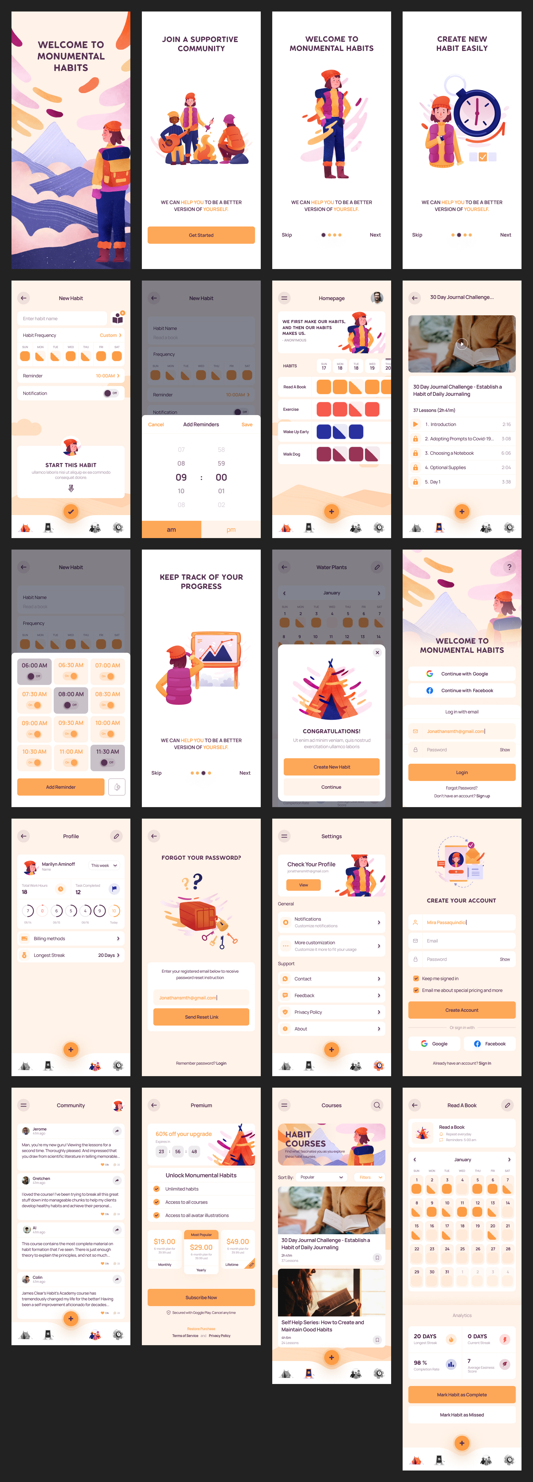 Habit Builder Free UI Kit for Figma from UIGarage