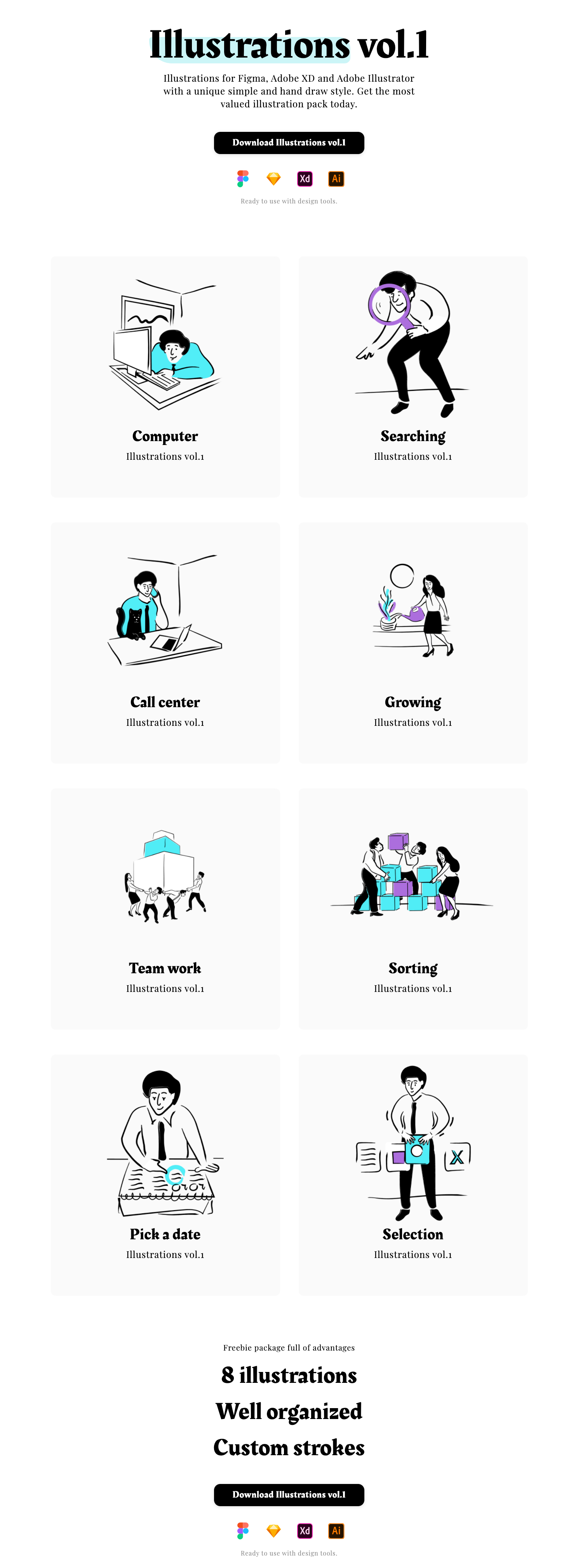Illustrations vol.1 - Illustrations for Figma, Adobe XD, Sketch and Adobe Illustrator with a unique simple and hand draw style. Get the most valued illustration pack today.