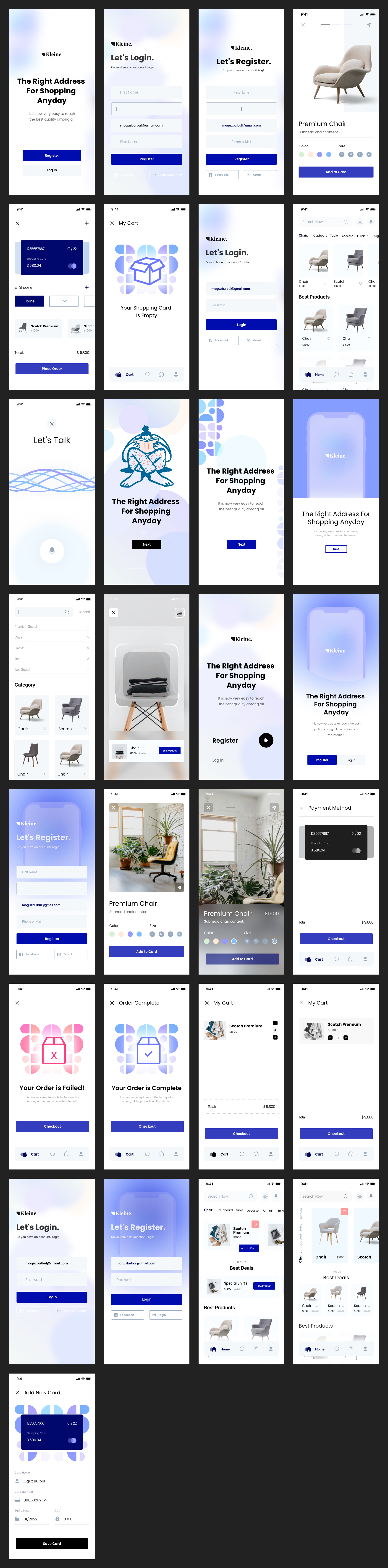 Kleine Free eCommerce UI Kit for Adobe XD - Kleine is free mobile UI Kit designed exclusively for Adobe XD. It features 30+ mobile screen pages to get you started on your projects.