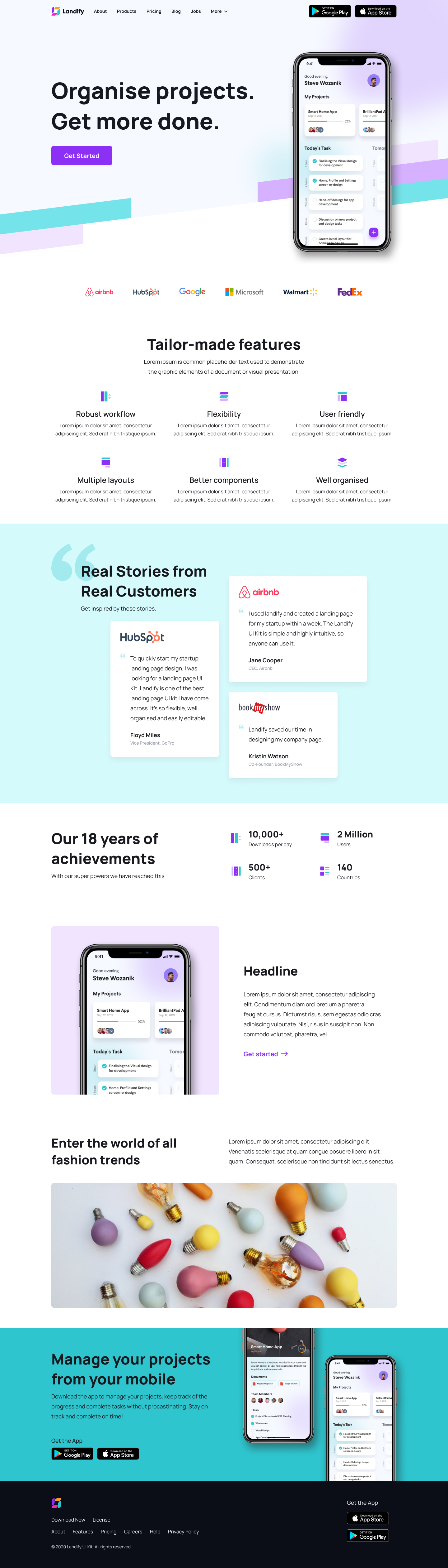 Landify - Free Landing Page UI Kit for Figma - Create your landing page design faster with Landify UI kit. The kit contains 90+ blocks, divided into 13 categories based on the purpose and use case. It is a well-organised collection of components that helps you to easily swap instance.