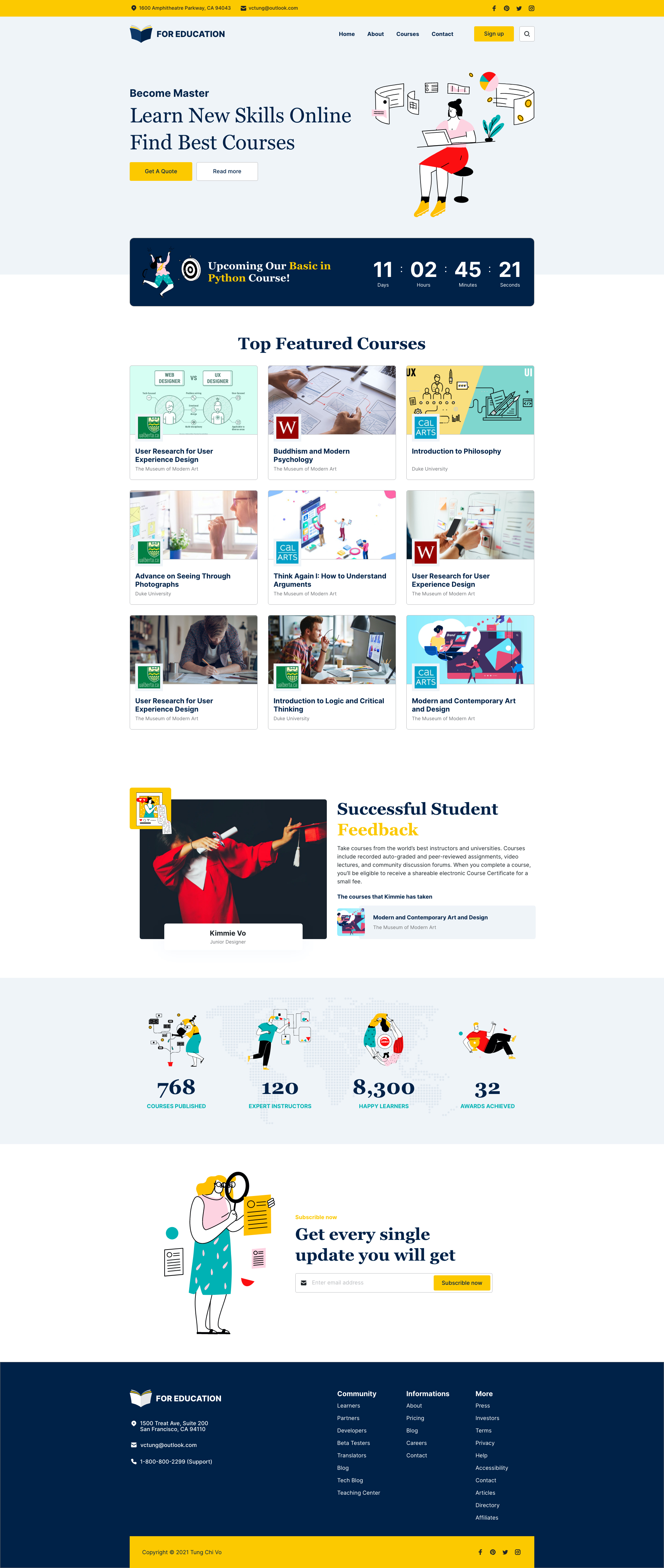 Little Squirrel - Free Landing Page for Adobe XD - Elegant and clean landing page templates for Education / Online learning projects