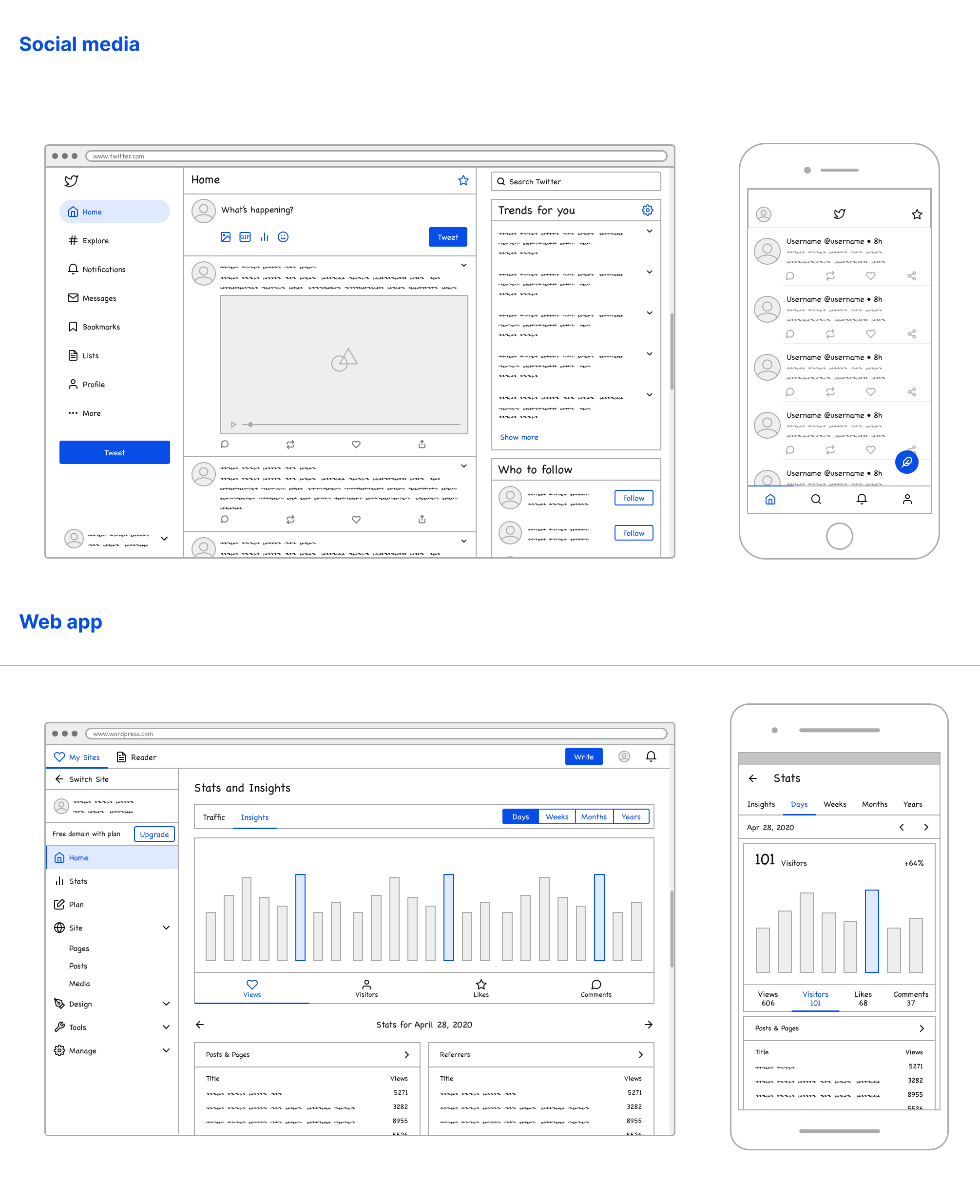 Lo-fi Wireframe Kit - A robust library of over 100 wireframing components that helps you explore more ideas, faster.