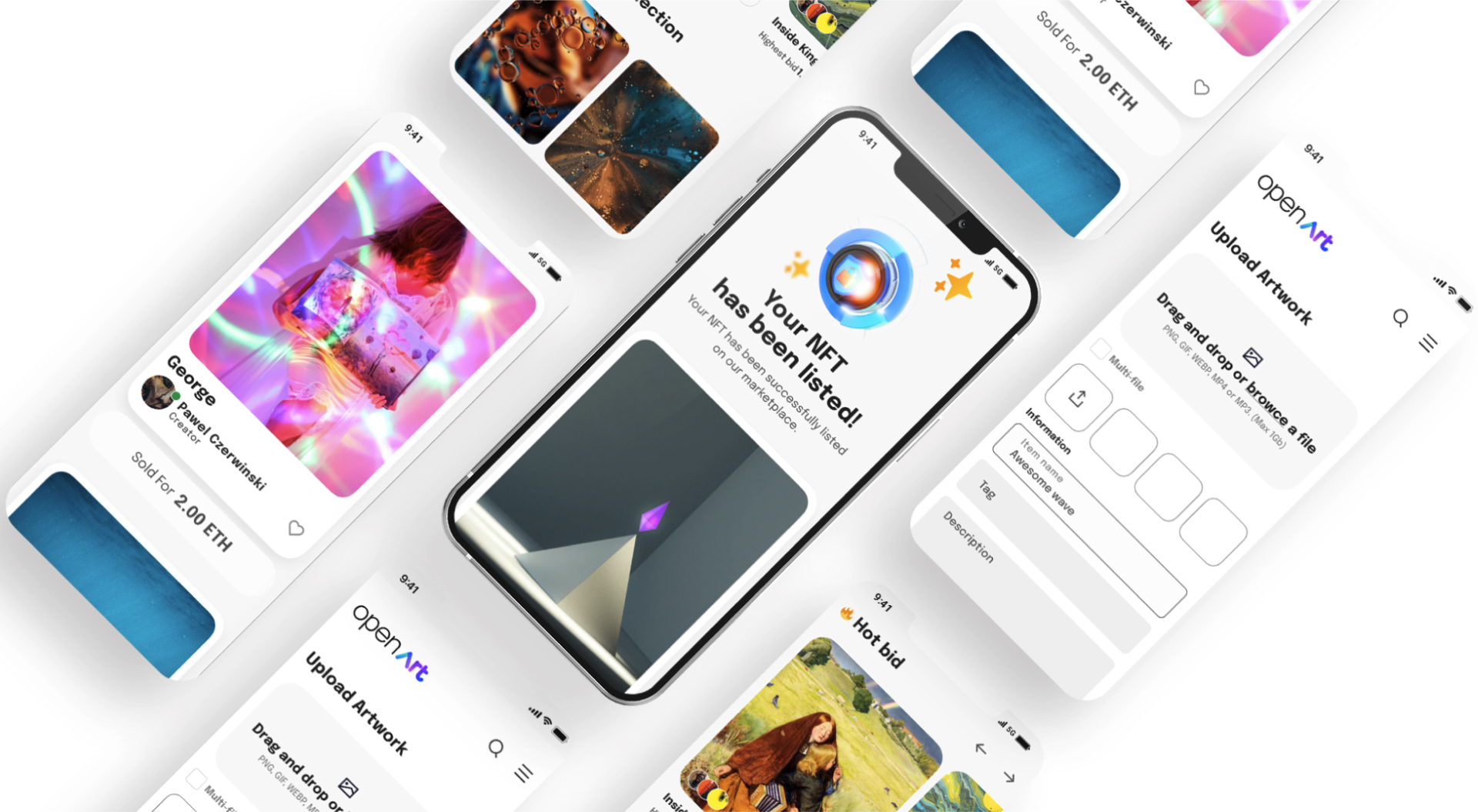 Open Art - Free NFTs UI Kit - Create stunning NFTs applications with bulletproof guidelines and thoughtful components. Its library contains more than 50+ components supporting Light & Dark Mode and 60+ ready to use mobile screens.