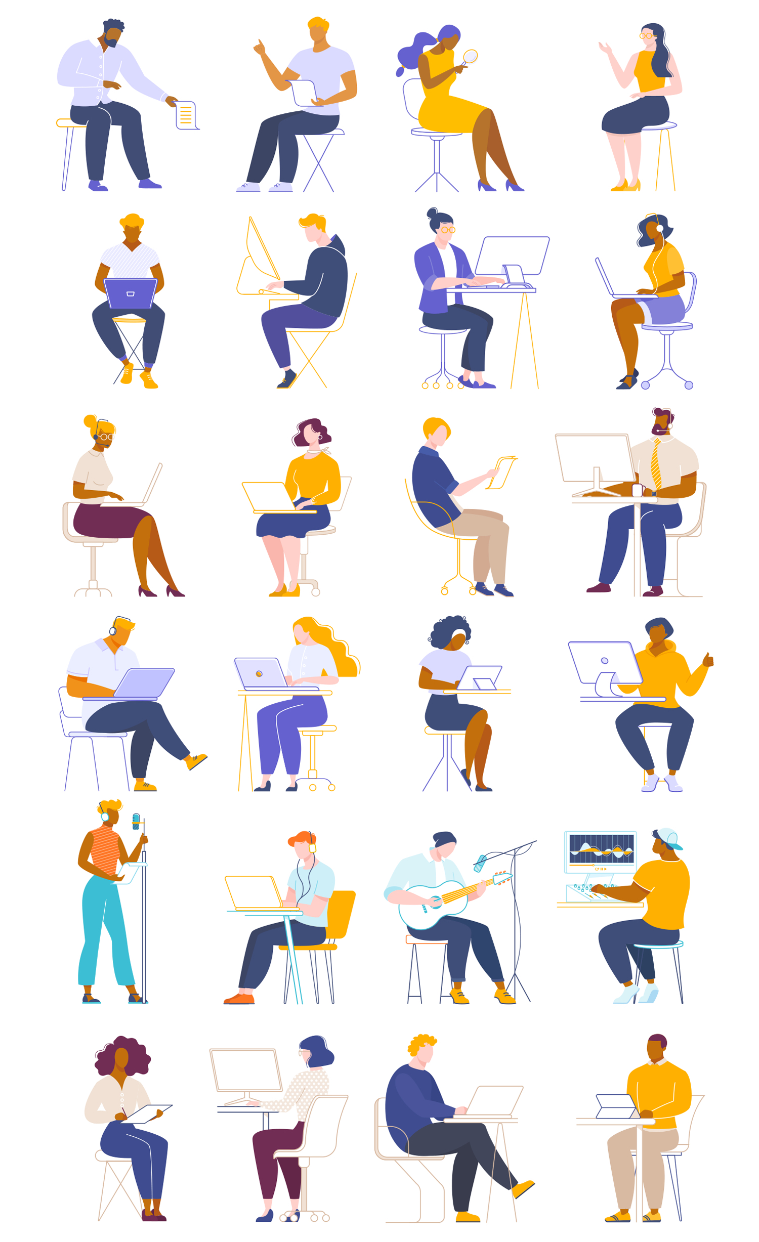 People Working Collaborating Illustrations - A free vector illustration pack of scenes and characters working, studying, typing, on calls, recording music, and creatively collaborating. No credit or attribution is needed, these illustrations are free to use for commercial and personal projects.