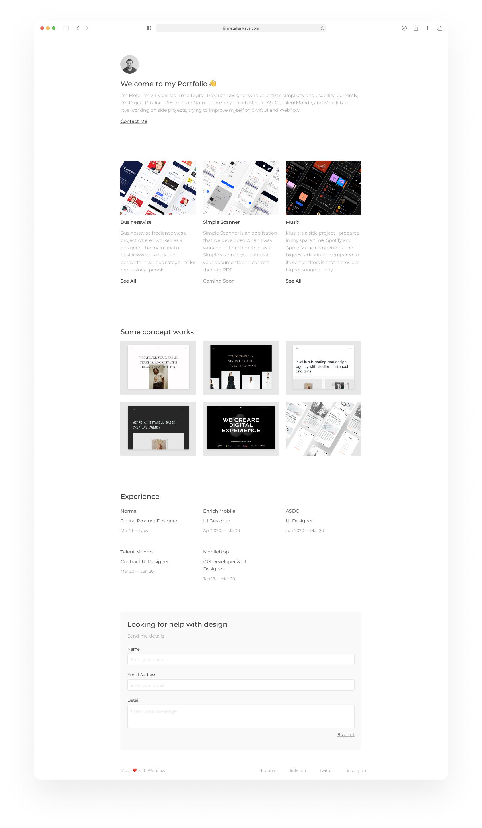 Portfolio Free Template - Clean and clear UI Kit with necessary stuff to create a new portfolio. It features 8 screen pages (Desktop + Mobile) to get you started on your projects.