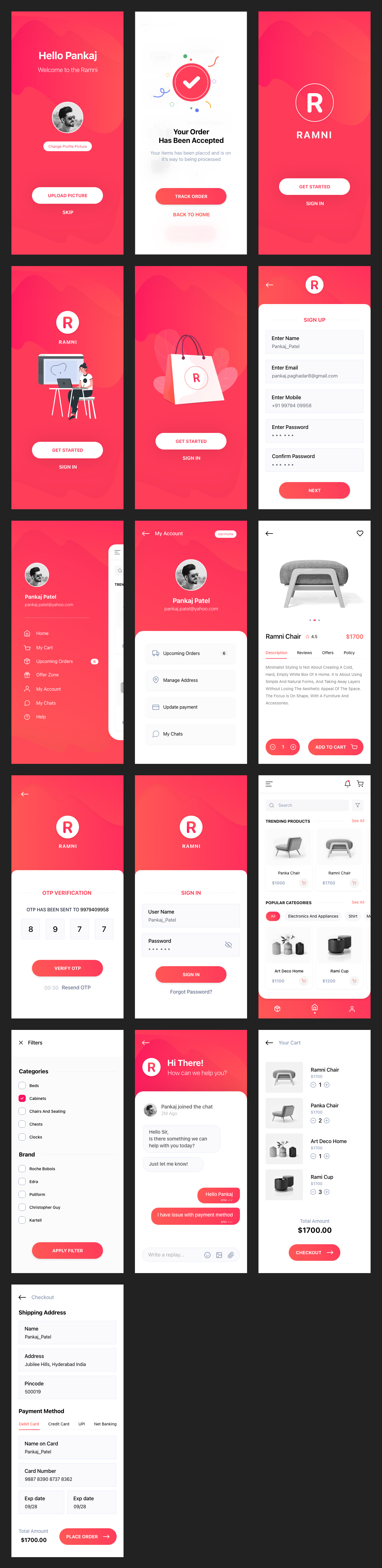 Ramni - Free eCommerce UI Kit for Adobe XD - A multipurpose UI KIT for all Mobile Apps, designed with classic design style without leaving a shopping feel. Suitable for all businesses or startups that provide services. Modifying the template is quite simple
