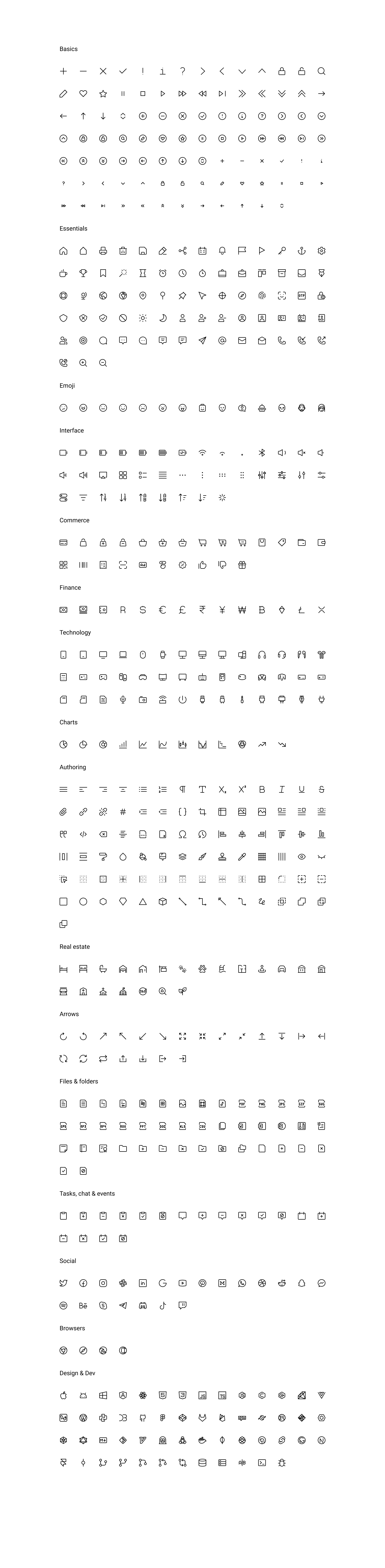 Teenyicons - Free Icon Set - Teenyicons is an awesome icon set with 1160 free icons both outlined and solid styles. 1px stroke is editable. The extensive library of the icons includes the following categories: Basics, Essentials, Emoji, Interface, Commerce, Technology, Authoring, Real estate, Arrows, Files & folders, Tasks, chat & events, Social, Browsers, Design & Dev.
