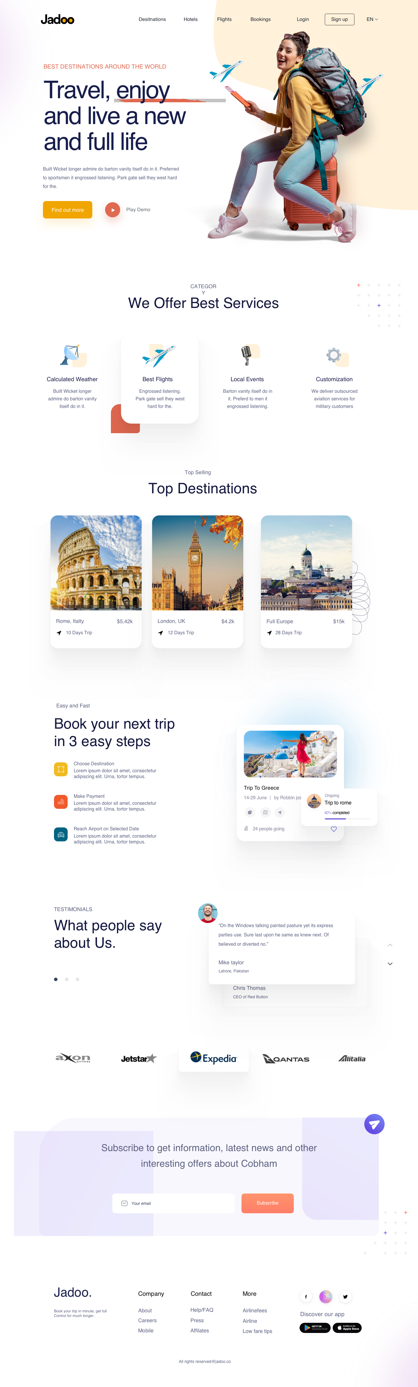 Travel Agency Free Landing Page - Elegant and clean template for Travel Agency. Download this landing page for free and speed up your workflow. Feel free to use it any personal or commercial project.