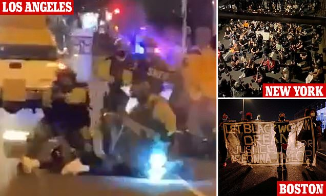 Hundreds occupy Brooklyn Bridge as crowds of Black Lives Matter supporters take to the streets