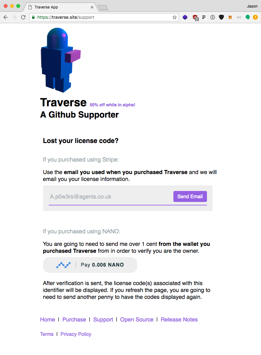 Traverse website support page