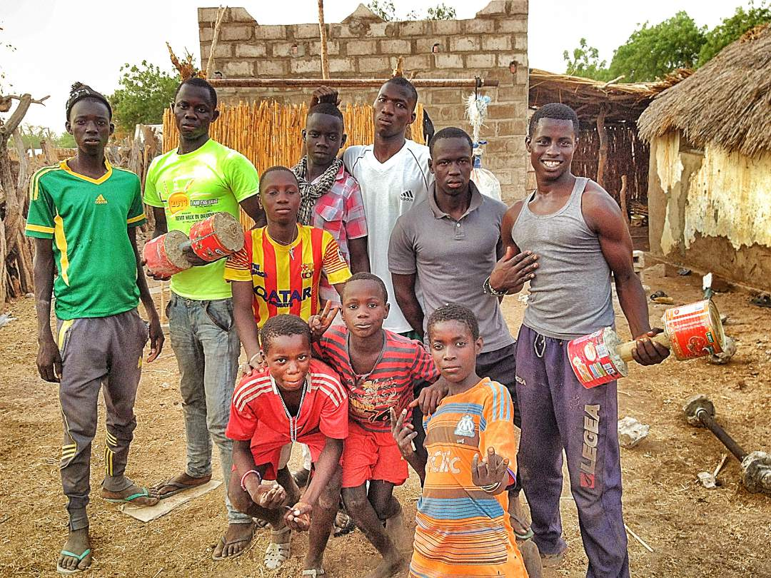 Men and boys in the village
