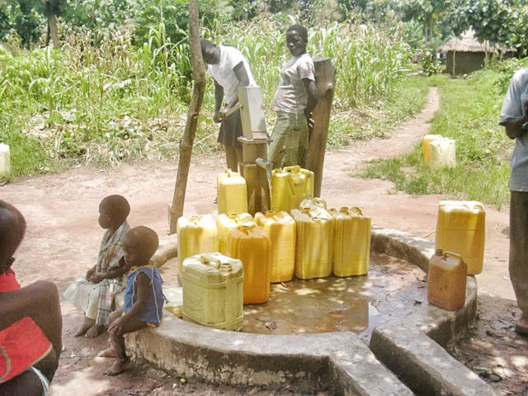 villagers around the well