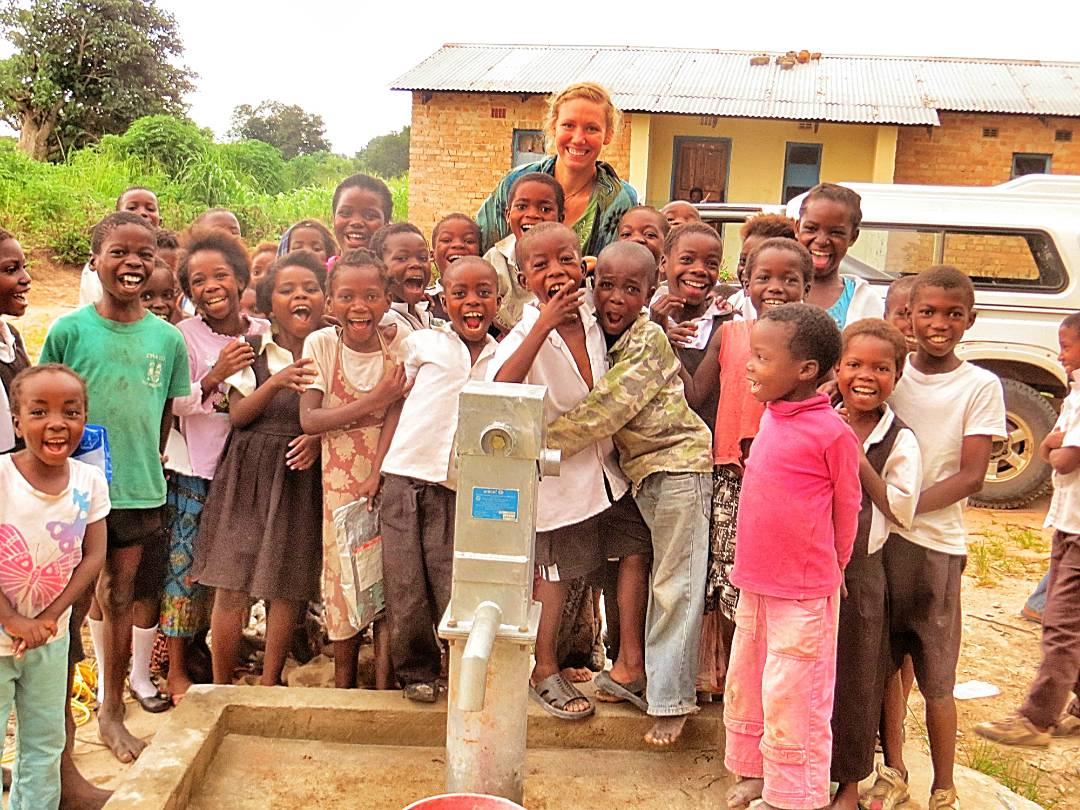 Emily at her first borehole project for WC