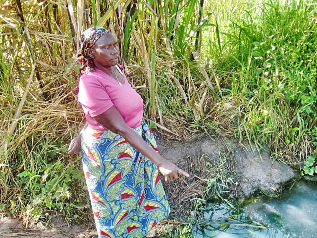 Village woman near the waterhole
