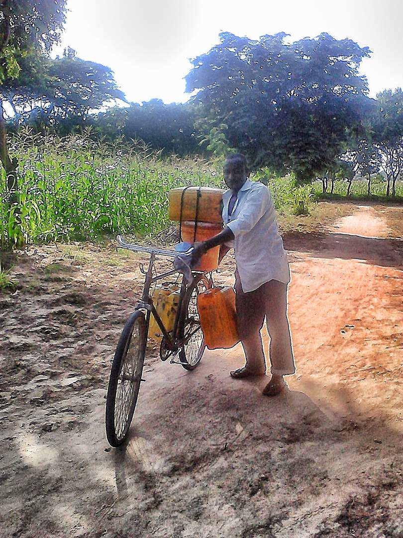 Village with his bike