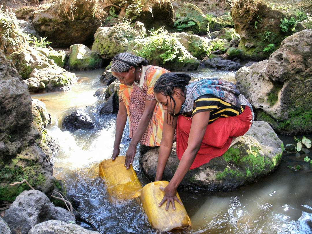 Gathering water from a stream
