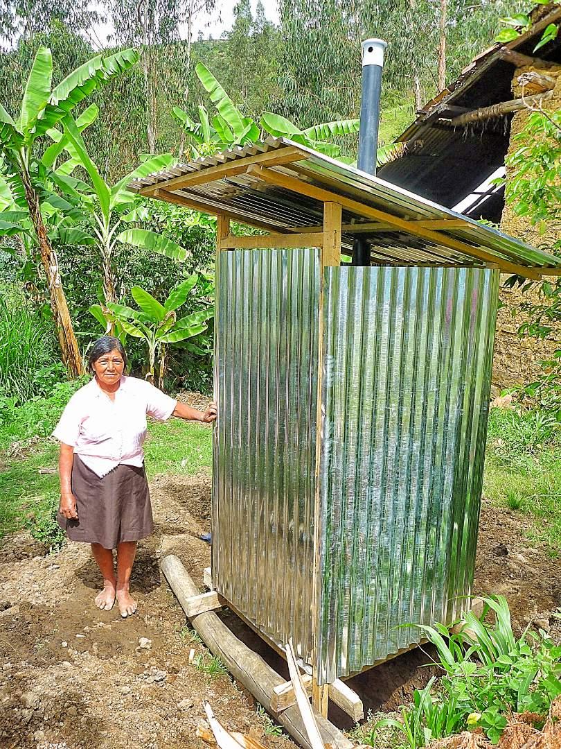 Village Elder with her new latrine