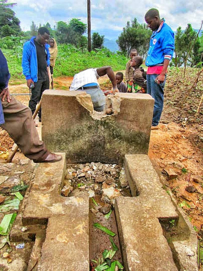 Breaking concrete to repair the plumbing