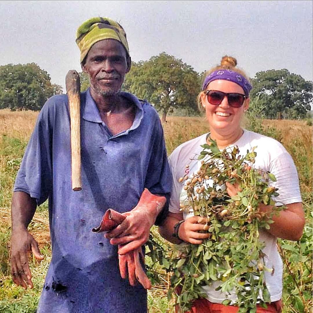 Lianna and a local farmer