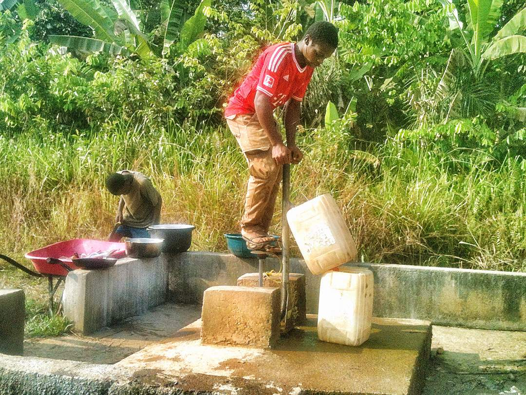 men at the well